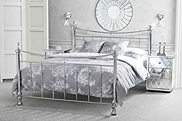 Pleasing My Furniture 5Ft King Size Nickel Iron Metal Bed Chrome Plated Crystal Finials Modern Style Waterford From Home Interior And Landscaping Ponolsignezvosmurscom