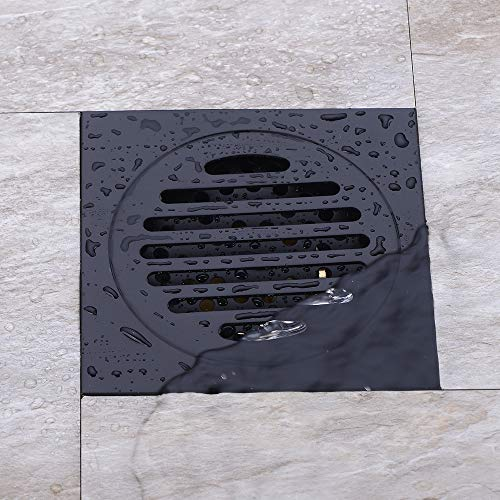 4 inch Square Shower Drain with Removable Cover Grate, Brass Anti Clogging and Odor Point Floor Drain Assembly with Hair Catcher Strainer, Matte Black