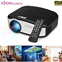 LightInTheBox 1200 Lumens Ultra Throw Rate HD 1080P Home Media Projector Portable Cinema with HDMI Input, USB, VGA Port, 3-in-1 AV In