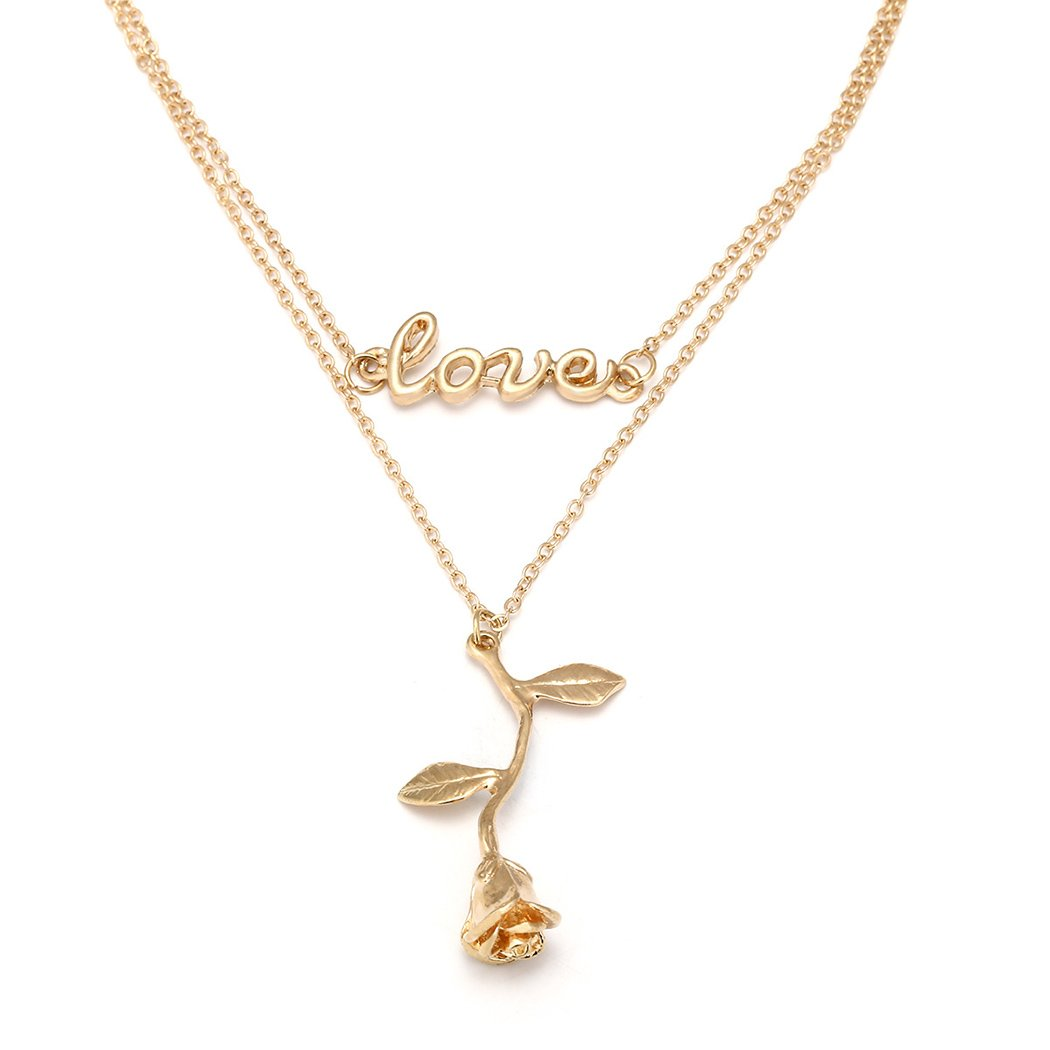 HOOPEN Women Vintage Rose Flower Necklace Pendant Love Letter Chain Jewelry Gold