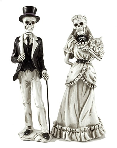Bride & Groom Skeletons Resin Halloween Figurines - Set of (Bride And Groom Skeleton)