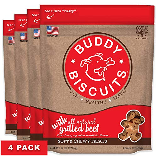 Buddy Biscuits Soft & Chewy Treats with Grilled Beef - 6 oz. (4 PACK)