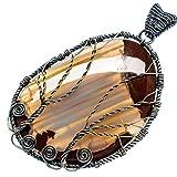 """Huge Butterfly Jasper Tree 925 Sterling Silver Pendant 3 1/4"""" - Handmade Jewelry PD576079"""