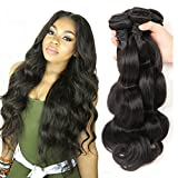 Bestsojoy 8A Brazilian Body Wave 3 Bundles 100 Human Hair Bundles Virgin Brazilian Hair Body Wave Natural Color (16 18 20)