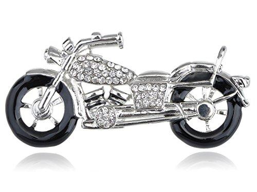 Alilang Silvery Tone Clear Crystal Colored Rhinestones Motorcycle Bike Wheels Brooch Pin (Bike Brooch Pin)