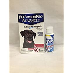 Pet Armor Pro Advanced Large (45-88.9 lbs) 3 Pack Plus 1 Container Fresh N Clean Oxy Odor/Stain Remove Remover 2OZ