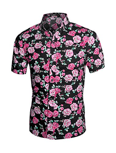 50cc2a16 uxcell Men Slim Fit Floral Print Short Sleeve Button Down Beach Hawaiian  Shirt