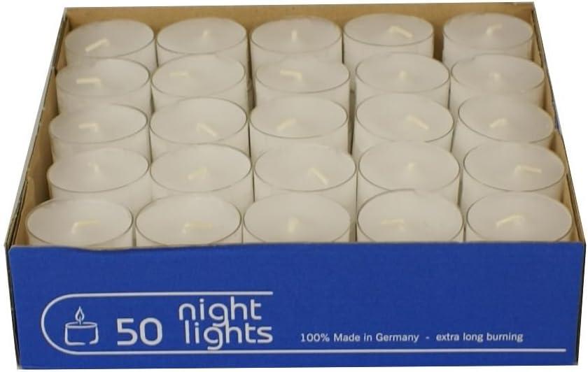 100 Teelichter Acryl Cup Weiß Nightlights transparente Hülle Wenzel 8 Stunden