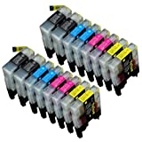 16 Pack Compatible Brother LC-61 , LC-65 4 Black, 4 Cyan, 4 Magenta, 4 Yellow for use with Brother MFC-J410, DCP-145C, DCP-165C, DCP-195C, DCP-375-CW, DCP-385C, DCP-395-CN, DCP-585-CW, DCP-6690-CW, DCP-J125, MFC-250C, MFC-255-CW, MFC-290C, MFC-295-CN, MFC-490-CW, MFC-495-CW, MFC-5490-CN, MFC-5890-CN, MFC-5890-CN, MFC-5895-CW, MFC-6490-CW, MFC-790-CW, MFC-795-CW, MFC-990-CW, MFC-J220, MFC-J410, MFC-J415-W, MFC-J615-W. Ink Cartridges inkjet. LC-61-BK , LC-61-C , LC-61-M , LC-61-Y © Zulu Inks