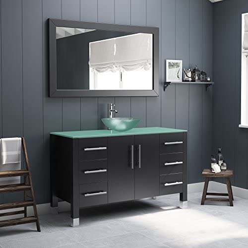 48 Inch Wood Glass Single Vessel Sink Bathroom Vanity Set- Shelby Chrome Faucet