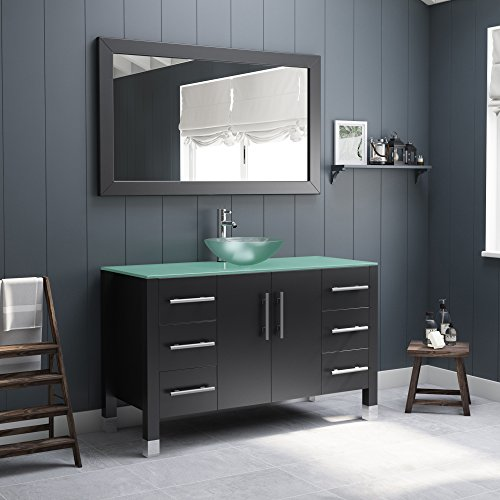 - 48 Inch Wood & Glass Single Vessel Sink Bathroom Vanity Set- Shelby (Chrome Faucet)