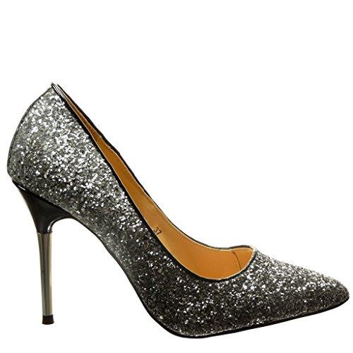Angkorly - damen Schuhe Pumpe - Stiletto - Sexy - Abend - glitzer Stiletto high heel 10 CM - Schwarz