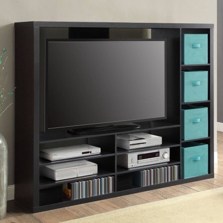 "Mainstays Entertainment Center for TVs up to 55"" (storage cubes are not included)"