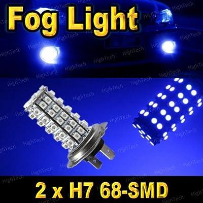 Pair Ultra Blue H7 68-SMD LED Headlight Bulbs For Driving Fog Light / Day Time Running Light DRL