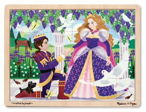 Melissa & Doug Princess Wooden Jigsaw Puzzle With Storage Tray (24 pcs)