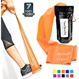 Super Exercise Band USA 7 ft. Long Latex Free Resistance Bands Plus Mini Door Anchor. Choose Light, Medium or Heavy Strength For Gym, Physical Therapy, Yoga, Pilates, Rehab. 30 Page E-Book, Carry Bag.