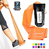 Cheap Super Exercise Band Light+ Orange 7 ft. Long Resistance Band. Latex Free Home Gym Fitness Kit for Strength Training, Physical Therapy, Yoga, Pilates or Chair Workouts. Plus Carry Pouch & E-Book.
