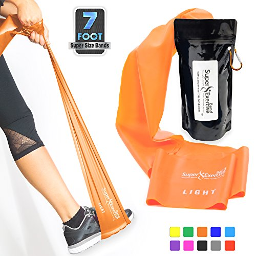 SUPER EXERCISE BAND Light ORANGE Resistance Band. Your Home Gym Fitness Equipment Kit for Strength Training, Physical Therapy, Yoga, Pilates, Chair Workout | LATEX FREE