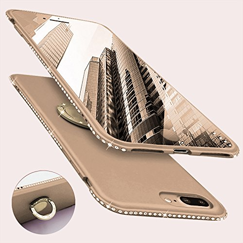 Newseego Compatible with iPhone 7 Plus Case,iPhone 8 Plus Case, Glitter Cute Phone Case with 360° Rotation Bling Diamond Rhinestone Bumper Ring Stand for iPhone 7 Plus/ 8 Plus-Golden