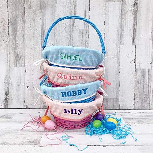 Easter Basket Liner - Large Basket Liner - Pink Coral or Blue -