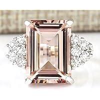 Siam panva Fashion Women Jewelry 925 Silver Morganite Ring Wedding Engagement Gift Sz 6-10 (7)