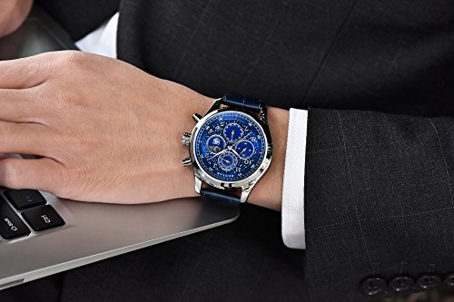 Mens-Watches-Blue-leather-chronograph-waterproof-watch-date-shows-the-analog-Star-Sport-Quartz-watch