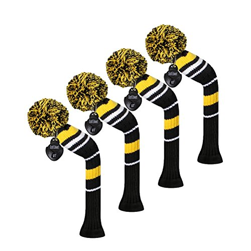 Scott Edward Golf Hybrid/Utilities Club Head Covers, 4 Pieces Packed, Warning Stripes, Acrylic Yarn Double-Layers Knitted, with Rotatable Number Tags, 3 Colors Optional (Yellow)