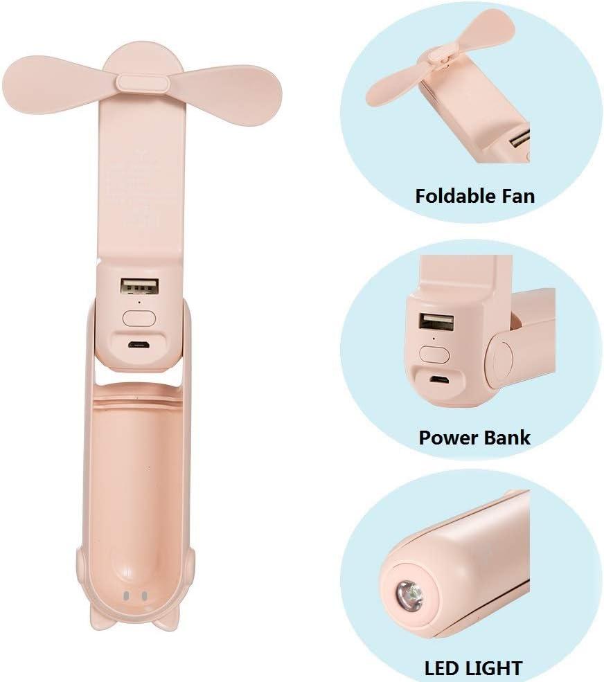 2000 mAh funci/ón de linterna con 2 velocidades para deportes en el hogar Mini ventilador port/átil de mano plegable de bolsillo de mano con bater/ía recargable y alimentado por USB azul