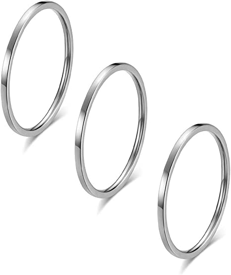 TraveT 3pcs 1mm Stainless Steel Plain Band Knuckle Ring Set Stacking Joint Midi Rings for Women Men Girls Simple Finger Rings Jewelry Size 3-10,Silver 3