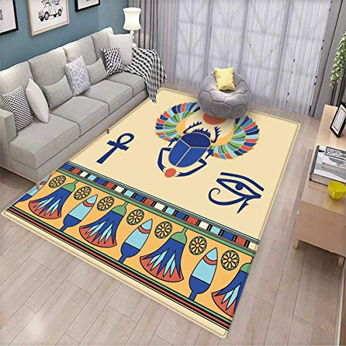 Egyptian Door Mats Area Rug Ancient Antique Historical Culture Icon of Scarab Eye with Ornaments Print Bath Mat Non Slip Multicolor