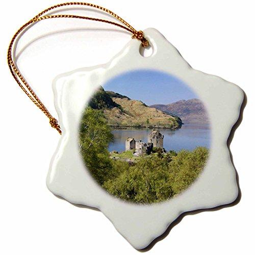 3dRose orn_82820_1 Eileen Donan Castle, Scotland EU36 MWR0062 Micah Wright Snowflake Porcelain Ornament, 3-Inch