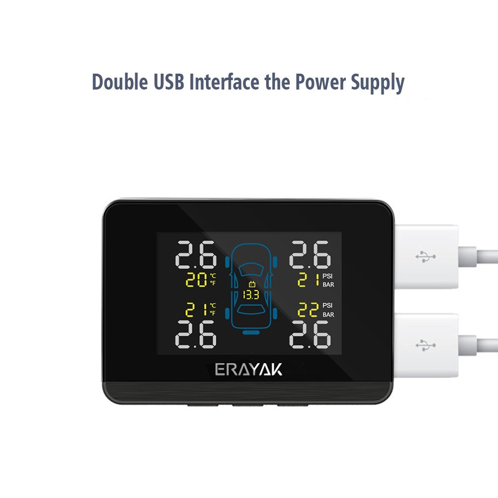 ERAYAK TPMS Syst/ème de Surveillance de Pression de Pneu Sans fil Jauge de Temp/érature Affichage LCD Ecran dAlimentation USB Alarme dAnomalie avec 4 Capteurs Internes PSI//BAR