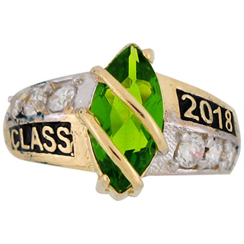 Class Ring 10k (10k Solid Gold Simulated August Birthstone 2018 Class Graduation Ring)
