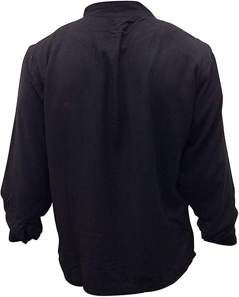 SHOPOHOLIC FASHION Men Hippie Linen Collarless Grandad Shirt