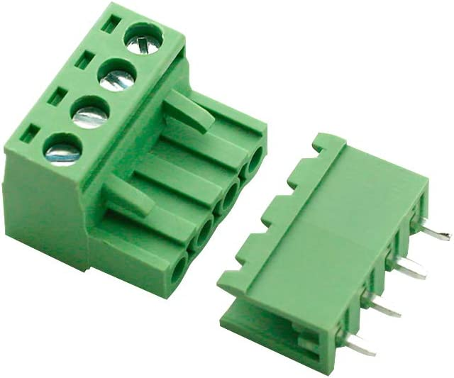 300V 10A, Green Augiimor 20Sets 2EDG 2Pin 5.08mm Pitch Female and Male PCB Screw Terminal Block Connector Audio /& Video Accessories Straight Pin Screw Terminal Block