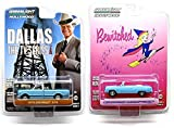 DALLAS & BEWITCHED TV Series Car Set - Greenlight 1964 Blue Chevy Malibu & 1970 Chevy Pickup Truck