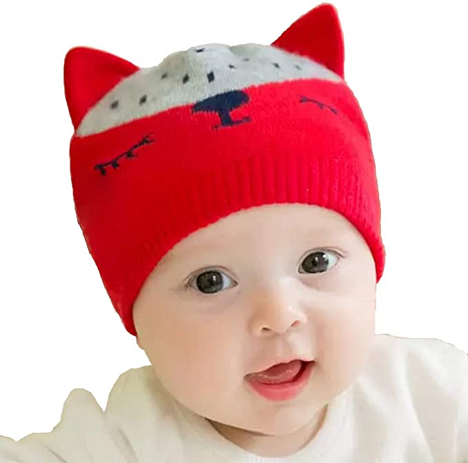 b4620f21cf548 Ziory 1Pcs Red Winter Knitted Cartoon Lovely Cat Hat with Cute Ear Caps for  Baby Boys and Baby Girls (6-12 months)  Amazon.in  Clothing   Accessories