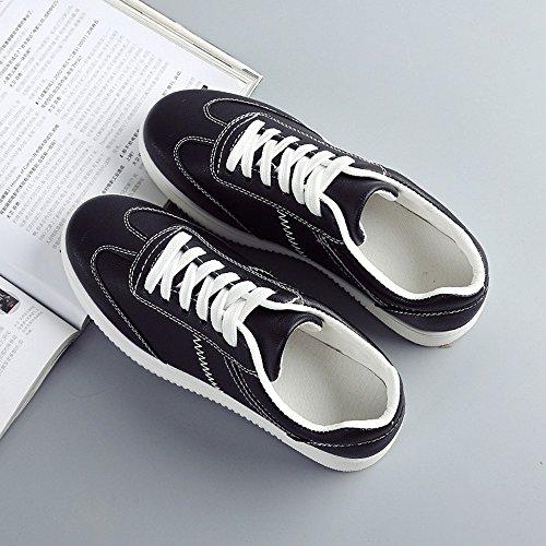Mujer Zapatillas Plataforma Casual Deportivo Zapatos de Cordones Plano 3CM Negro Blanco Gris Rosa Negro con Blanco