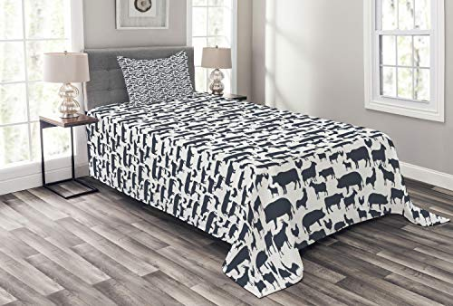 Family Farm Quilts - Ambesonne Cattle Bedspread, Farm Animals Silhouette Background Style Pattern for Agriculture Theme, Decorative Quilted 2 Piece Coverlet Set with Pillow Sham, Twin Size, Dark Blue