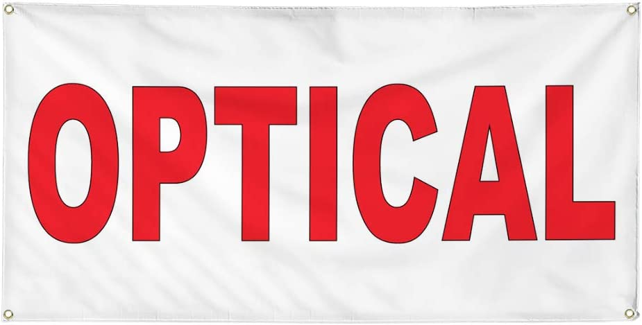 Vinyl Banner Multiple Sizes Optical Red Health Care Outdoor Weatherproof Industrial Yard Signs 8 Grommets 48x96Inches