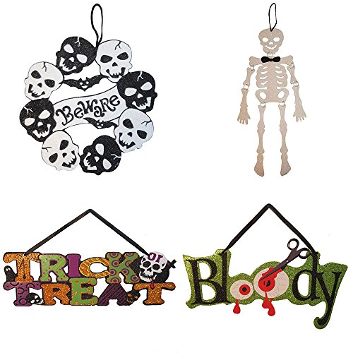 Native Spring 4-pk Skulls Wreath Skeleton Trick-or-Treat Bloody Scary Glitter Spooky Pumpkin Ghost Hanging Decorations Value -