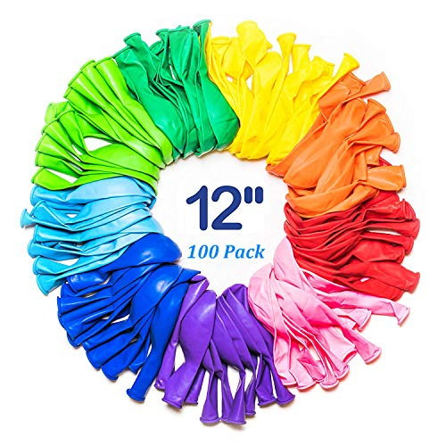 12 Inch Party Balloons, Latex Assorted Color Rainbow Set (100 Pack), Thicken Round Metallic Pearlescent Balloons Supplies Bulk for Birthday Christmas Wedding Decorations