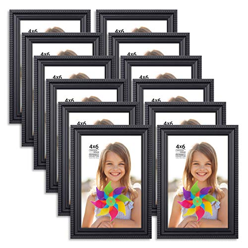 (Langdons 4x6 Picture Frames (12 Pack, Black) Black Picture Frame Set, Wall Mount or Table Top, Set of 12 Prosperity Collection)