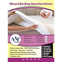 Waterproof Duvet Quilt Protector Non noisy Double Duvet Cover 78x78Inches Zippered Anti Allergy Anti Dust Mite Bed bug Proof Anti Bacerial All Uk Sizes Single, Pillow Protector by Aaf Textiles