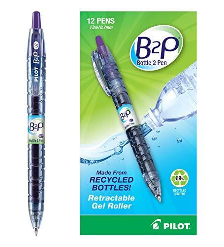 Pilot Bottle 2 Pen (B2P) Retractable Premium Gel Roller Pens Made from Recycled Bottles, Dozen Box, Fine Point, Purple G2 Gel Ink, Refillable, Comfortable Grip (31622)