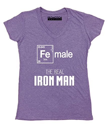 Promotion & Beyond Female Real Iron Man Funny Elements Women's V-Neck, L, Heather - Ironman Wtc