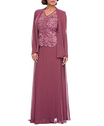 aa2999069e64f Fitty Lell Women s Three Pieces Chiffon Mother The Bride Dress Jacket Pant  Suits(US2