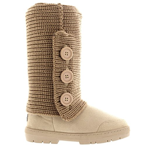 Flat Snow Boots Winter Womens Knitted Button Beige Knitted 3 Cardy Rain YY4TAIq