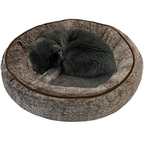 ASPCA Donut Pet Bed for Cats & Dogs, Extra Soft Cup Round Cuddler