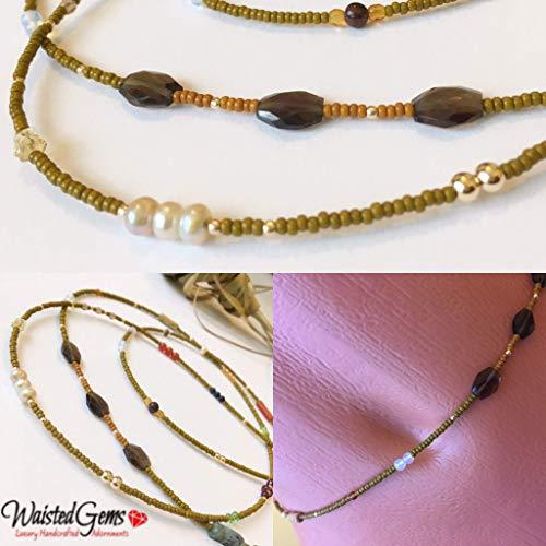 Sweet Pea, 14k Gold and Gemstone Waist Beads,African Waist Beads,Belly Chain,Green Waist Beads, Gold Belly chain, Crystal Waist Beads